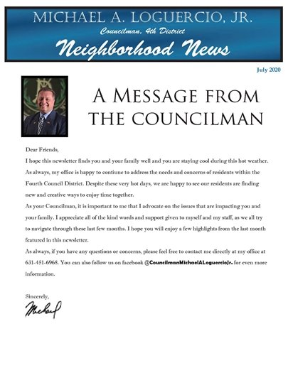 A message from the Councilman