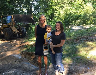 Councilwoman Bonner and residents Kristin Scharf and her son Cian