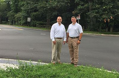 Dan Panico and Dan Losquadro  at the intersection of Wading River Road and South Street in Manorvill