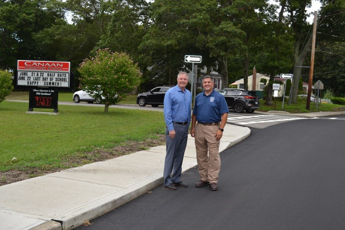 Superintendent oh Highways Losquadro and Councilman Foley on Paved Road