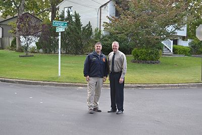 Highway Superintendent Losquadro and Councilman Neil Foley at paving project