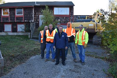 Councilman Loguercio and workers infront of 16 Handy Lane Medford