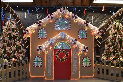 Holiday decorated house