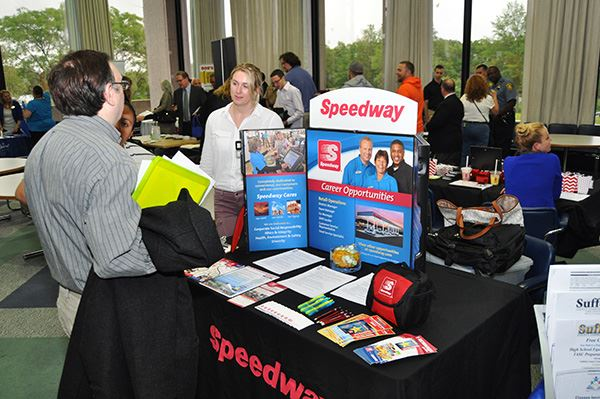 Speedway display table at conference
