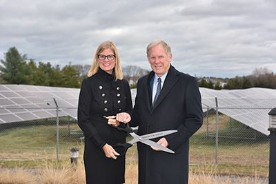 Councilwoman Bonner (left) and Robert F. Caldwell (right), president of Duke Energy Renewables
