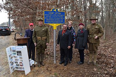 Camp Upton sign unveiling group photo