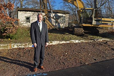 Councilman Foley in front of 5 Celia Street Patchogue
