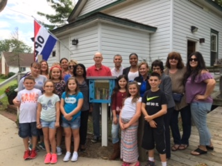 Group at little Free Library