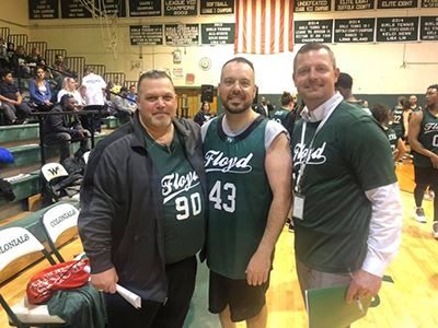 William Floyd School Board President Robert Vecchio, Councilman Panico and Superintendent Kevin Cost