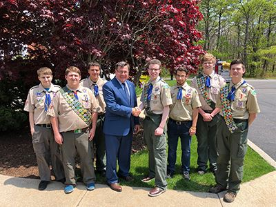 Supervisor Romaine group photo with Eagle Scout Troop 221