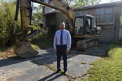 Councilman Panico in front of 7 Laurel Street Mastic Beach Demolition
