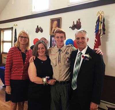 Eagle Scout Freund with parents and Councilwoman Bonner