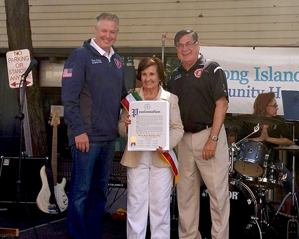 Councilman Neil Foley and Supervisor Romaine honor Grace Rizzi-Gallipoli at the St. Liberata Festiva