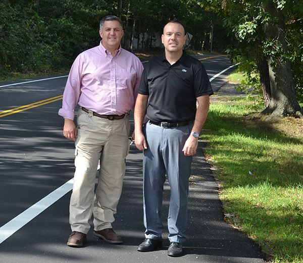 Superintendent Losquadro and Councilman Panico on South Street in Manorville.