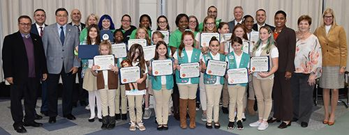 Girl Scout Service Unit 48 at Town Board Meeting
