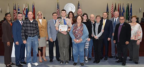 Eagle Scout candidate Stephen Hines and the Town Board members