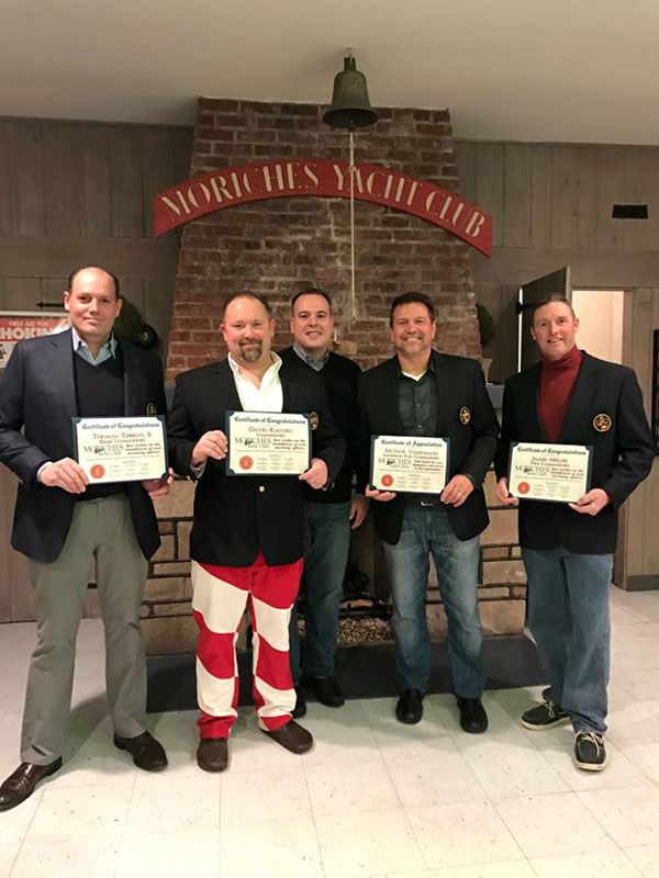 Five men at Moriches Yacht Club Installation