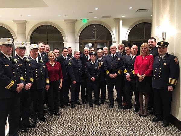 Fire department in uniform at formal event