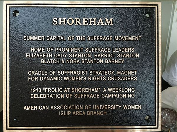 Image of plaque honoring suffragettes