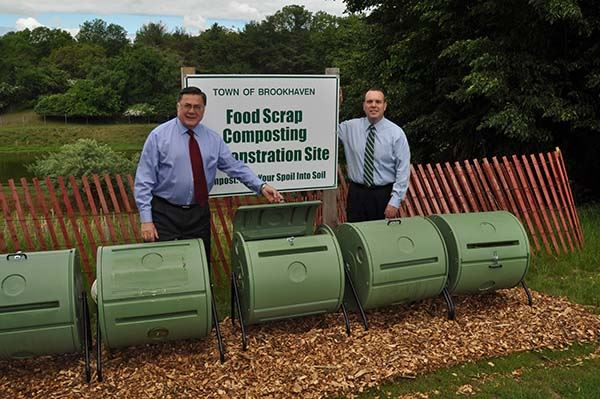 Supervisor Romaine and Councilman Panico with Composters
