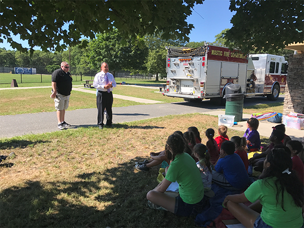Councilman Panico Welcomes Mastic Fire Department to Brookhaven ReGeneration Camp in Shirley