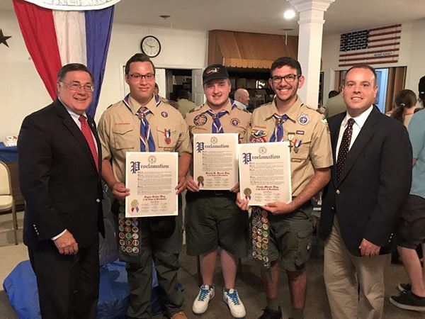 Supervisor Romaine and Councilman Panico Attend Boy Scout Troop 414 Eagle Court of Honor in Center M
