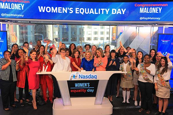 Town Clerk Donna Lent Rings NASDAQ Opening Bell In Support of Gender Equality