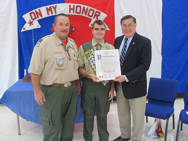 Supervisor Romaine Honors Eagle Scout from Troop 270 in Patchogue