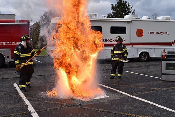 Supervisor Romaine and Town Chief Fire Marshal Demonstrate Explosive Hazards of Deep Frying Turkey