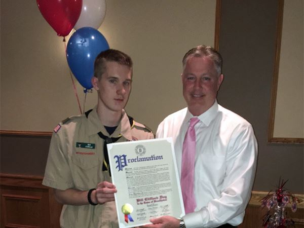 Councilman Foley Honors Eagle Scout from Troop 439 in Ronkonkoma