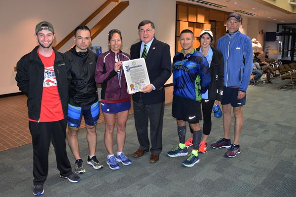 Supervisor Romaine Honors Eva Casale during 7 Marathons in 7 Days Stop at Town Hall