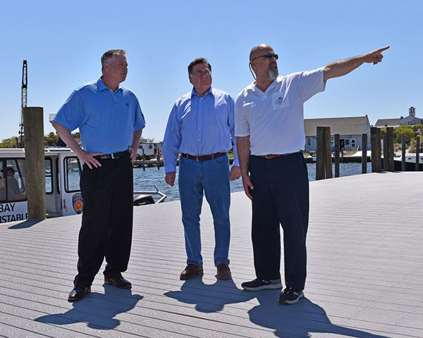 Supervisor Romaine and Councilman Foley Inspect Davis Park Marina Repairs