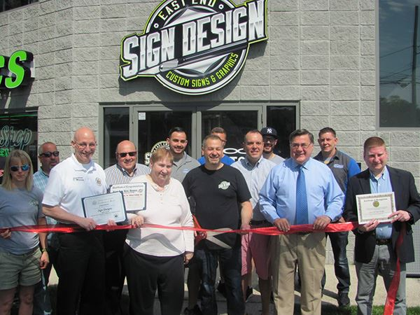 Supervisor Romaine and Councilman Panico Celebrate Ribbon Cutting at East End Sign Designs New Locat