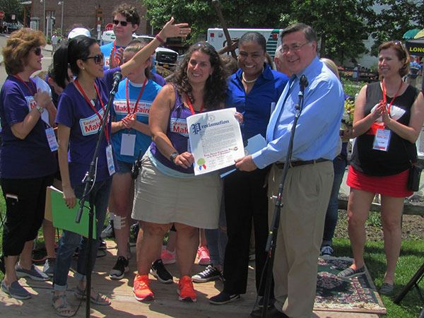 Supervisor Romaine and Councilwoman Cartright Attend the Long Island Explorium Mini Maker Faire in P