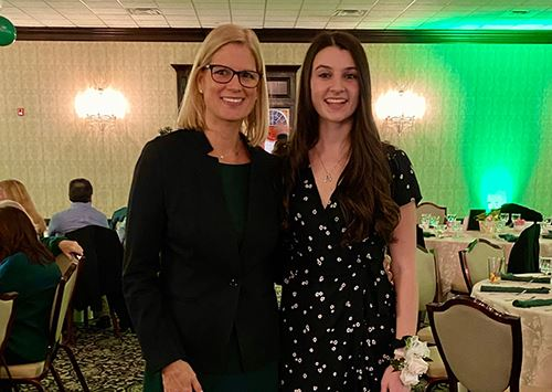 Councilwoman Jane Bonner and Miller Place High School senior, Alexa Zichinelli