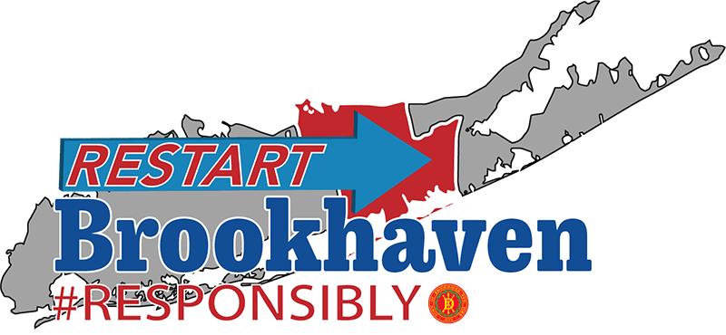 "Long Island with the words ""Restart Brookhaven #Responsibly"" over it with the Town seal"