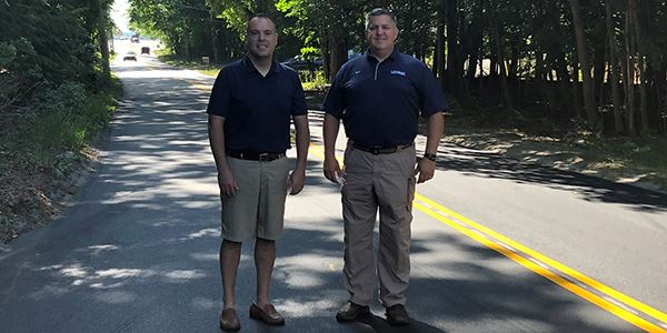 Superintendent Losquadro and Councilman Panico  on Eastport Manor Road in Manorville